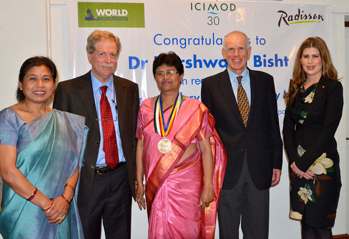 Dr. David Molden, Director General of ICIMOD (second from left) presided over the Hillary Medal presentation event at ICIMOD headquarters in 2014
